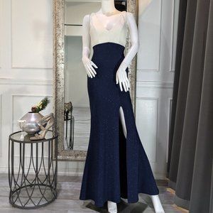 White & Navy Blue Formal Evening Prom Dress Gown